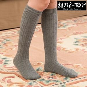 羊毛竹炭能量膝上中統襪(灰)
